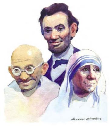 """""""Abraham Lincoln, Mahatma Ghandi và Mẹ Theresa"""""""